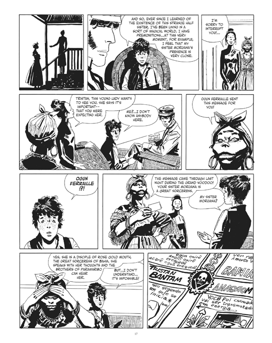 "From the Corto Maltese story """"The Secret of Tristan Bantam"". Preview page 1.© Cong S.A., Switzerland. Art © Casterrman, Bruxelles. Corto Maltese ® & Hugo Pratt  TM  © Cong S.A., Switzerland. Translation © 2014 Dean Mullaney and Simone Castaldi. All rights reserved."