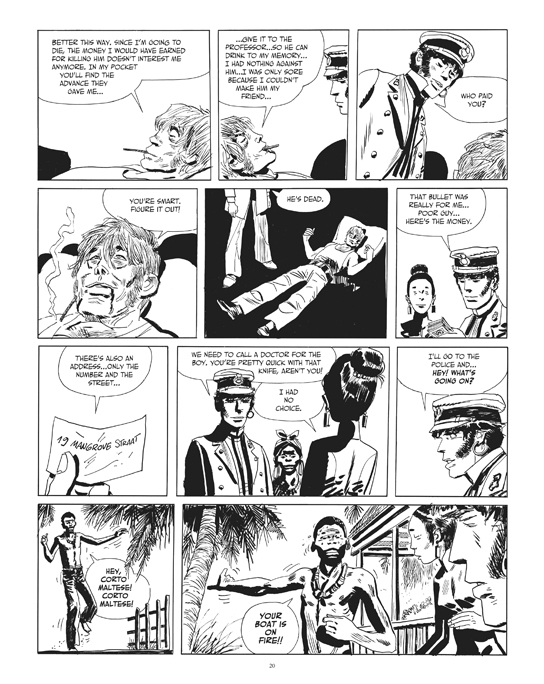 "From the Corto Maltese story """"The Secret of Tristan Bantam"". Preview page 4.© Cong S.A., Switzerland. Art © Casterrman, Bruxelles. Corto Maltese ® & Hugo Pratt TM © Cong S.A., Switzerland. Translation © 2014 Dean Mullaney and Simone Castaldi. All rights reserved."