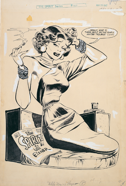 """Original art for the splash of """"Il Duce's Locket,"""" The Spirit no. 365, May 25, 1947. Eisner's postwar women such as P'Gell were far sexier and more dangerous, perhaps reflecting the artist's wider experience, and with a nod to the Quartier Pigalle, Paris's red-light district."""