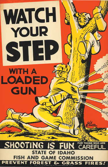 Idaho Fish and Game Commission Posters, c. 1952. Eisner created cartoon campaigns to sell products and ideas, addressing political and social issues as well as simple public safety measures such as these.