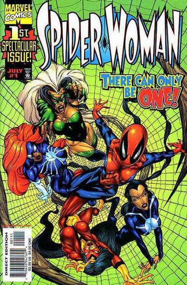 The gang's all here! This cover to 1999's Spider-Woman #1 features all the versions of Spider-Woman to that point.