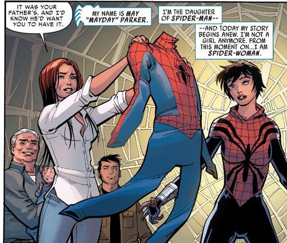 Spider-Girl becomes Spider-Woman at the end of Spider-Verse.
