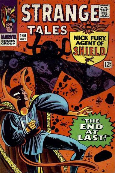 Doctor Strange meets Eternity on Ditko's cover to Strange Tales #146