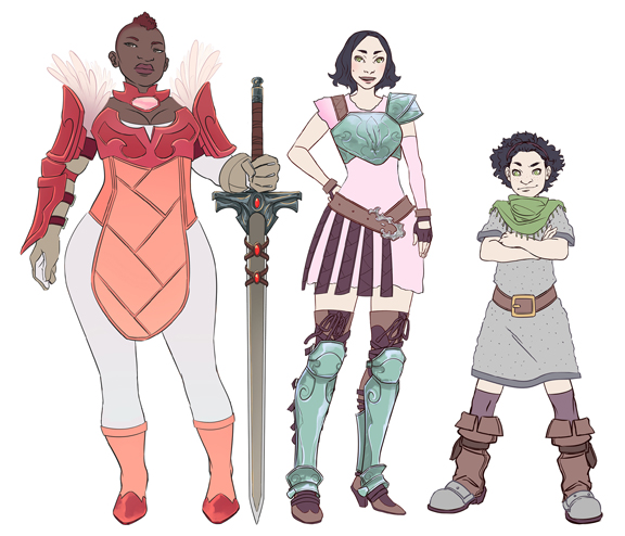 Ashley A. Woods' designs for the main characters.