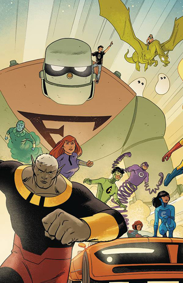 The Galaxy Trio are out in front on the back cover of Future Quest #1