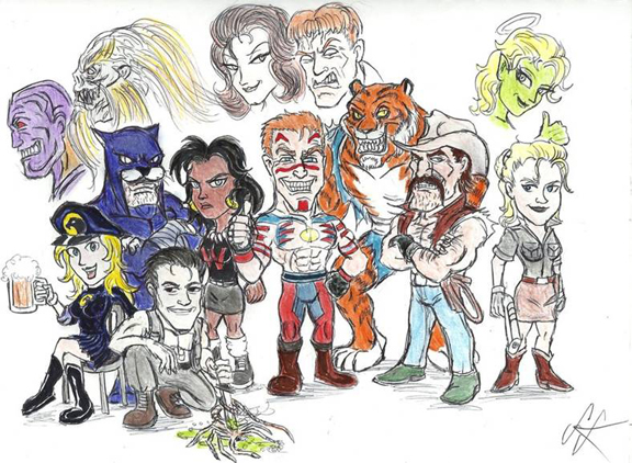 Guy Gardner And His Crazy Beau Smith Created Crew Of Supporting Characters. Art by Devilkais
