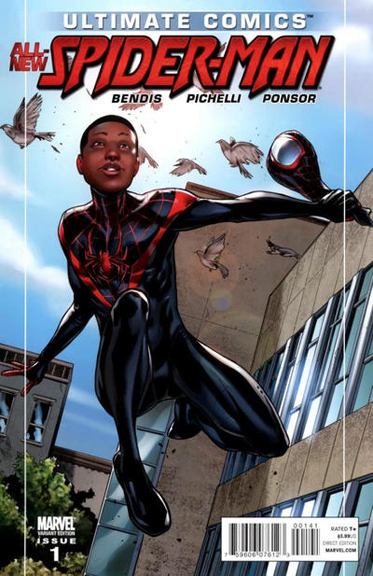 Miles Morales is unmasked as Spider-Man on this variant cover.