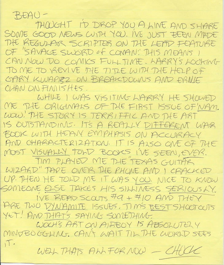 A letter from Chuck Dixon