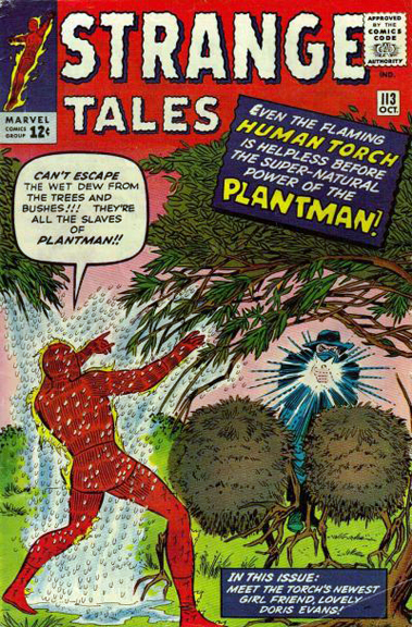 Jerry Siegel dialogs a battle against Plantman in Strange Tales #113