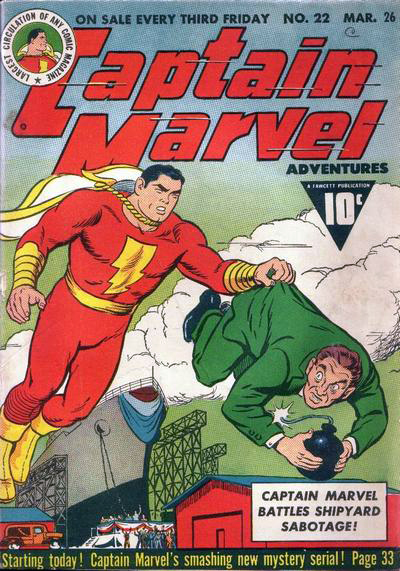 The story is only hinted at on the cover of Captain Marvel Adventures #22