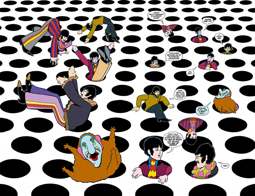 Jeremy and The Beatles explore the Sea of Holes in The Beatles: Yellow Submarine.