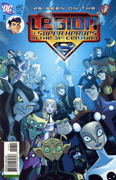 LSH characters on the cover of Legion of Super-Heroes in the 31st Century #17, roughly from left to right: Matter-Eater Lad, Element Lad, Triplicate Girl, Dream Girl, Karate Kid, Invisible Kid, Timber Wolf, Brainiac 5, Saturn Girl, Lightning Lad, Bouncing Boy, Chameleon Boy, Shrinking Violet, Phantom Girl, Element Lad, Cosmic Boy, Colossal Boy, Star Boy, Ultra Boy, and Blok. Please note that Superboy is not in this cover shot (although his head-shot is up in the left corner next to the logo).