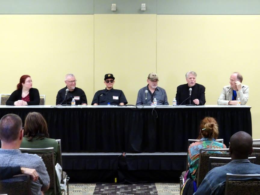 Left to right: Evelyn Kriete, P. Craig Russell, Ed Piskor, Timothy Truman, John K. Snyder III, and Mark Buckingham.