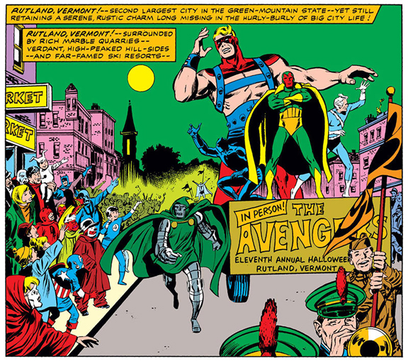 The first appearance of the Rutland Halloween Parade in comics from Avengers #83