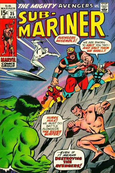 Sub-Mariner #35. Don't fight the Avengers. That trick never works.